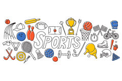 Flat line art design of Sports concept Royalty Free Stock Photo