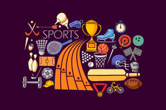 Flat line art design of Sports concept Royalty Free Stock Photos