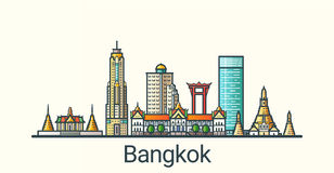 Flat line Bangkok banner. Banner of Bangkok city in flat line trendy style. All buildings separated and customizable. Line art Royalty Free Stock Image