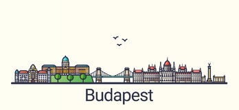 Flat line Budapest banner Royalty Free Stock Photo