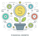 Flat line Business Concept Financial Growth. Vector illustration. Modern thin linear stroke vector icons. Website Graphics, Banner, Infographics Design Royalty Free Stock Photos