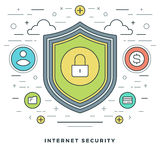 Flat line Business Concept Internet Security. Vector illustration. Modern thin linear stroke vector icons. Stock Photos