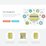 Flat line Business Concept Web Site Header Vector illustration. Royalty Free Stock Image