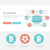 Flat line Business Concept Web Site Header Vector illustration. Royalty Free Stock Photography