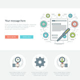 Flat line Business Concept Web Site Header Vector illustration. Stock Photos