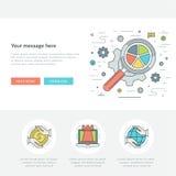 Flat line Business Concept Web Site Header Vector illustration. Stock Image