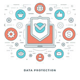 Flat line Business Data Protection Concept Vector illustration. Stock Photos