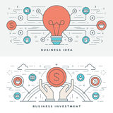 Flat line Business Idea and Investment. Vector illustration. Modern thin linear stroke vector icons. Stock Photo