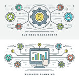 Flat line Business Management and Planning Concept Vector illustration. Modern thin linear stroke vector icons. Website Header Graphics, Banner, Infographics Royalty Free Stock Photo