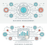 Flat line Business Management and Planning Concept Vector illustration. Modern thin linear stroke vector icons. Website Header Graphics, Banner, Infographics Royalty Free Stock Images