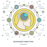 Flat line Business Meeting and Analysis Concept Vector illustration. Stock Images