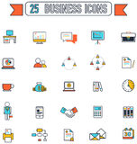 Flat line business and office tool equipment sign and symbol Stock Images