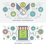 Flat line Business Partnership and Internet. Vector illustration. Stock Image
