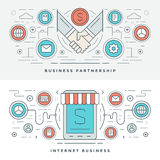 Flat line Business Partnership and Internet. Vector illustration. Stock Photo