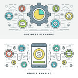 Flat line Business Planning and Banking. Vector illustration. Royalty Free Stock Photo