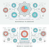 Flat line Business Planning and Banking. Vector illustration. Modern thin linear stroke vector icons. Website Header Graphics, Banner, Infographics Design Stock Photos