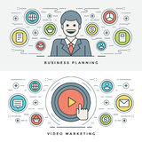 Flat line Business Planning and Video Marketing. Vector illustration. Stock Photo