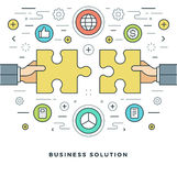 Flat line Business Solution Concept Vector illustration. Modern thin linear stroke vector icons. Website Header Graphics, Banner, Infographics Design Royalty Free Stock Photography