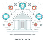 Flat line Business Stock Market Deals Concept. Royalty Free Stock Photography