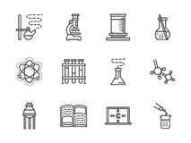 Flat line chemistry research icons Stock Images