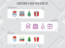 Flat line Christmas icon set and new year vector illustration fo royalty free illustration