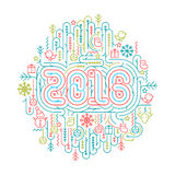 Flat line Christmas and New Year 2016 vector illustrations. For greeting cards, banners Stock Photo