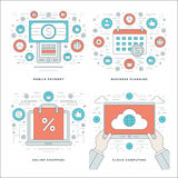 Flat line Cloud Computing, Internet Shopping, Mobile Payments, Business Concepts Set Vector illustrations. Stock Images