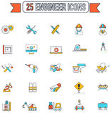 Flat line color civil engineering and construction site industry. Graphic tool equipment sign and symbol icon collection set, create by vector Stock Photo