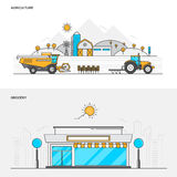 Flat line color concept- Agriculture and Grocery Stock Photo