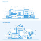 Flat Line color Concept - Design Studio and Apps Development. Set of Flat Line Color Banners Design Concepts for Design Studio and Apps Development. Concepts web Royalty Free Stock Images