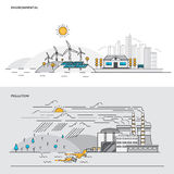 Flat line color concept- Environmental and Pollution Stock Photography
