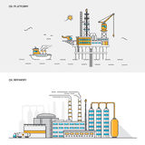 Flat line color concept- Oil platform and Refinery Stock Images