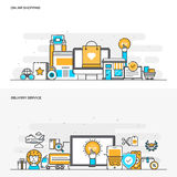 Flat line color concept- Online Shopping and Delivery Service Stock Images