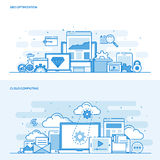 Flat line color concept- Seo and Cloud computing Stock Photos