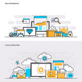 Flat line color concept- Seo and Cloud computing Stock Photo