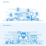 Flat line color concept- Social Media and Social Marketing. Set of Flat Line Color Banners Design Concepts for Social Media and Social Marketing. Concepts web royalty free illustration