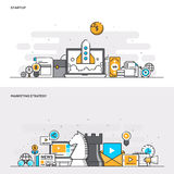 Flat line color concept- Startup and Marketing Strategy. Set of Flat Line Color Banners Design Concepts for Startup and Marketing Strategy. Concepts web banner vector illustration