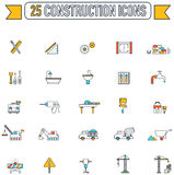 Flat line color engineering and construction site industry icon stock illustration