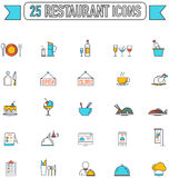 Flat line color food beverage and restaurant graphic icon Stock Photos