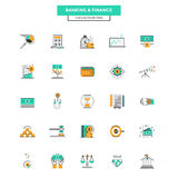 Flat Line Color Icons- Banking and Finance. Set of Modern Flat Line icon Concept of Banking and Finance use in Web Project and Applications. Vector Illustration Stock Photography