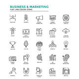 Flat Line Color Icons- Business and Marketing Royalty Free Stock Image