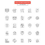 Flat Line Color Icons- Healthcare and Medicine. Set of Modern Flat Line icon Concept of Healthcare and Medicine use in Web Project and Applications. Simple mono Royalty Free Stock Images