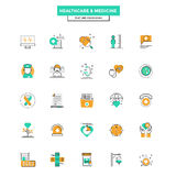Flat Line Color Icons- Healthcare and Medicine Royalty Free Stock Images