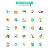 Flat Line Color Icons- Power and Energy Royalty Free Stock Photos