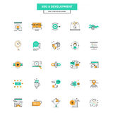 Flat Line Color Icons- SEO and Development Stock Photography