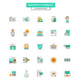 Flat Line Color Icons- Shopping and commerce Stock Photos