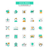 Flat Line Color Icons- Social media Royalty Free Stock Photo