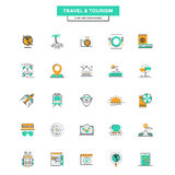 Flat Line Color Icons- Travel and Tourism Royalty Free Stock Images