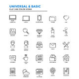 Flat Line Color Icons- Universal and Basic Royalty Free Stock Images