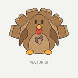 Flat line color vector icon with cute animal for baby products - turkey. Cartoon style. Childrens doodle. Babyhood Royalty Free Stock Photos